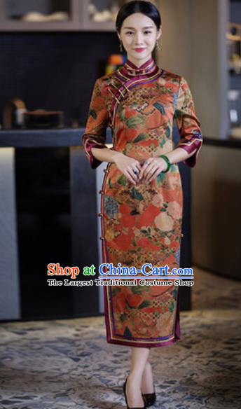Chinese Traditional Tang Suit Qipao Dress National Costume Printing Orange Cheongsam for Women