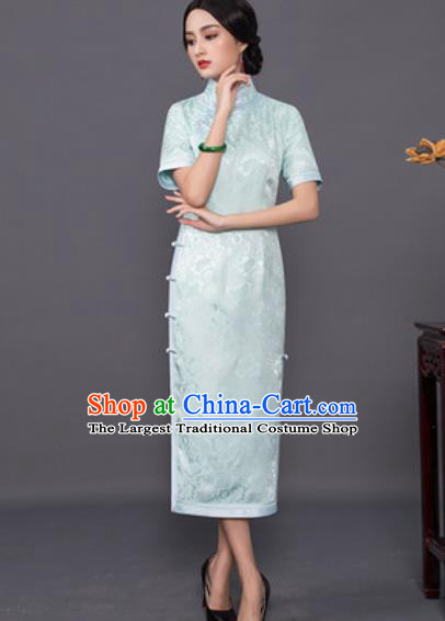 Chinese Traditional Tang Suit Qipao Dress National Costume Light Green Silk Cheongsam for Women