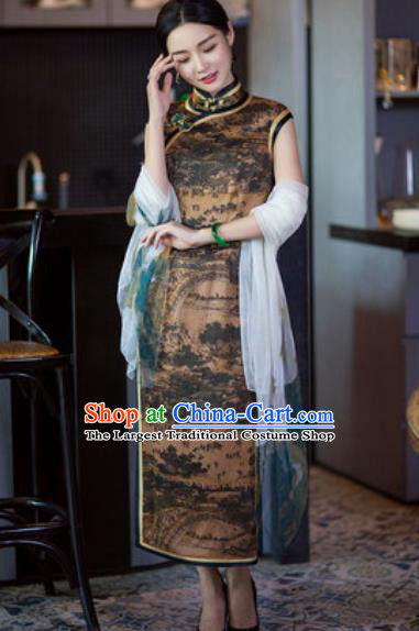 Chinese Traditional Tang Suit Qipao Dress National Costume Brown Silk Cheongsam for Women