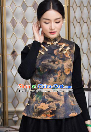 Chinese Traditional Tang Suit Upper Outer Garment Qipao Vest National Costume for Women