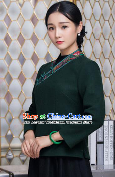 Chinese Traditional Tang Suit Upper Outer Garment Qipao Deep Green Blouse National Costume for Women