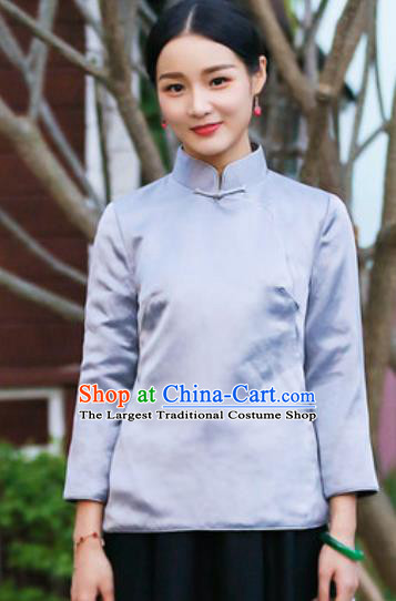 Chinese Traditional Tang Suit Upper Outer Garment Qipao Grey Blouse National Costume for Women