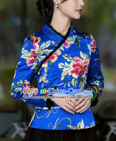 Chinese Traditional Tang Suit Upper Outer Garment Printing Peony Royalblue Silk Jacket National Costume for Women