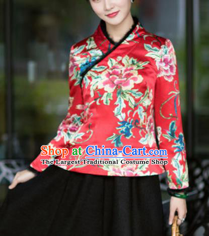 Chinese Traditional Tang Suit Upper Outer Garment Printing Peony Red Silk Jacket National Costume for Women