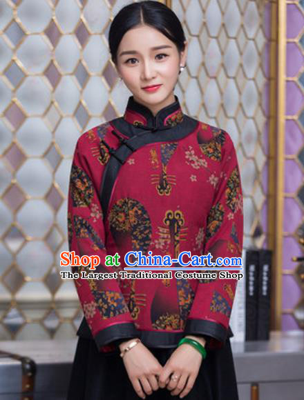 Chinese Traditional Tang Suit Upper Outer Garment Qipao Wine Red Jacket National Costume for Women