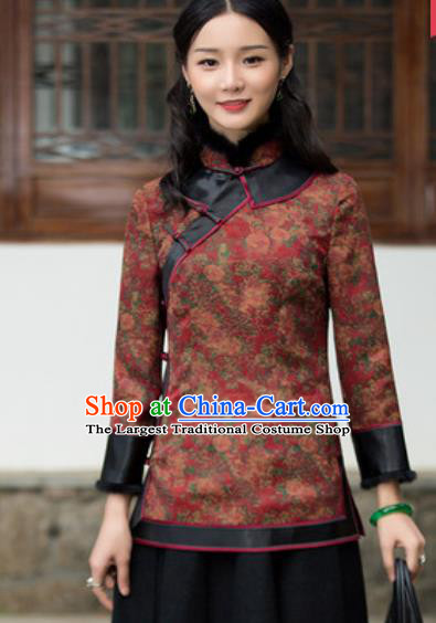 Chinese Traditional Tang Suit Upper Outer Garment Printing Red Blouse National Costume for Women