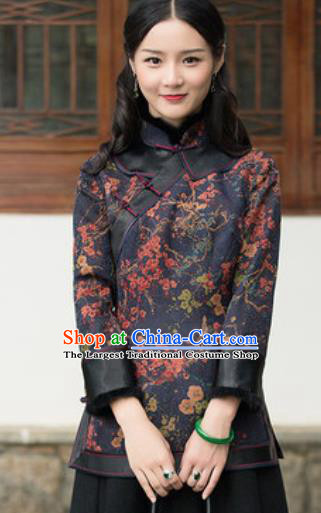 Chinese Traditional Tang Suit Upper Outer Garment Printing Navy Blouse National Costume for Women