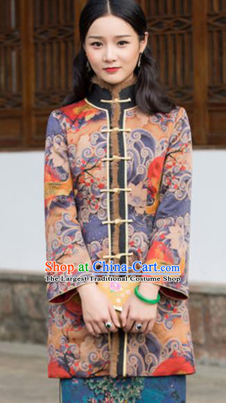 Chinese Traditional Tang Suit Upper Outer Garment Printing Fish Jacket National Costume for Women