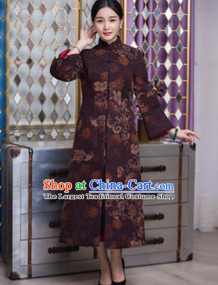 Chinese Traditional Tang Suit Brownness Dust Coat National Costume Outer Garment for Women