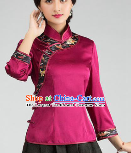 Chinese Traditional Tang Suit Upper Outer Garment Rosy Silk Blouse National Costume for Women