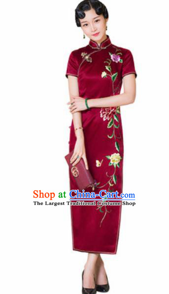Chinese Traditional Embroidered Peony Wine Red Cheongsam Tang Suit Qipao Dress National Costume for Women