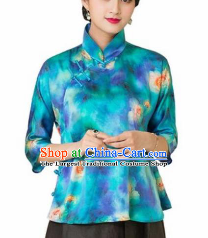 Chinese Traditional Tang Suit Upper Outer Garment Printing Blue Silk Blouse National Costume for Women