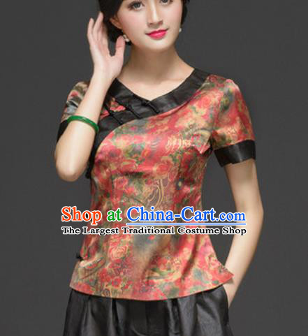 Chinese Traditional Tang Suit Upper Outer Garment Printing Silk Blouse National Costume for Women