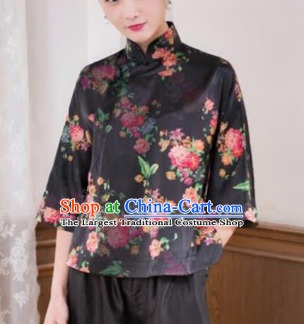 Chinese Traditional Tang Suit Upper Outer Garment Printing Black Silk Blouse National Costume for Women