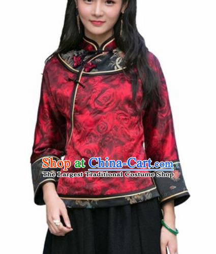 Chinese Traditional Printing Roses Red Silk Blouse Tang Suit Upper Outer Garment National Costume for Women