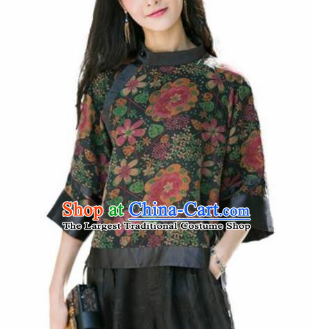 Chinese Traditional Printing Silk Blouse Tang Suit Upper Outer Garment National Costume for Women