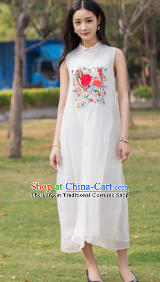 Chinese Traditional Embroidered Peony White Silk Cheongsam Tang Suit Qipao Dress National Costume for Women
