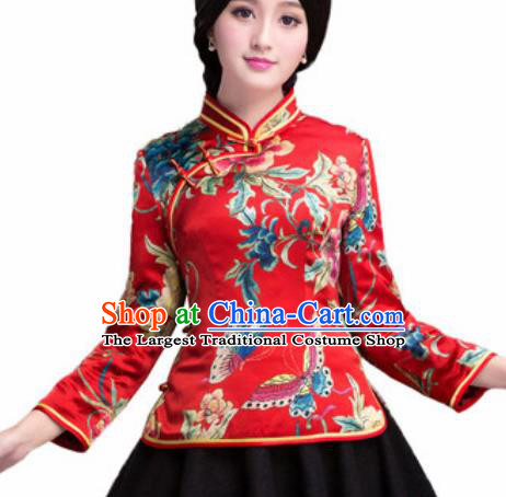 Chinese Traditional Printing Peony Red Silk Blouse Tang Suit Upper Outer Garment National Costume for Women