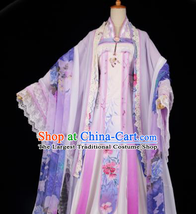 Chinese Traditional Cosplay Peri Goddess Costume Ancient Imperial Consort Pink Hanfu Dress for Women