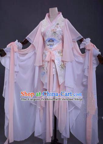 Traditional Chinese Cosplay Princess Costume Ancient Swordswoman Pink Hanfu Dress for Women