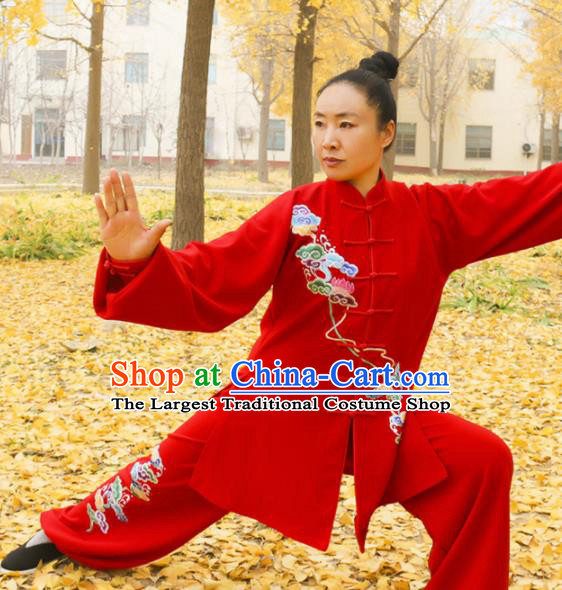 Chinese Traditional Kung Fu Competition Costume Martial Arts Tai Chi Embroidered Cloud Red Clothing for Women