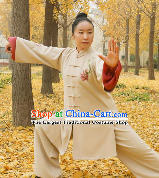 Chinese Traditional Kung Fu Competition Costume Martial Arts Tai Chi Printing Magnolia Clothing for Women