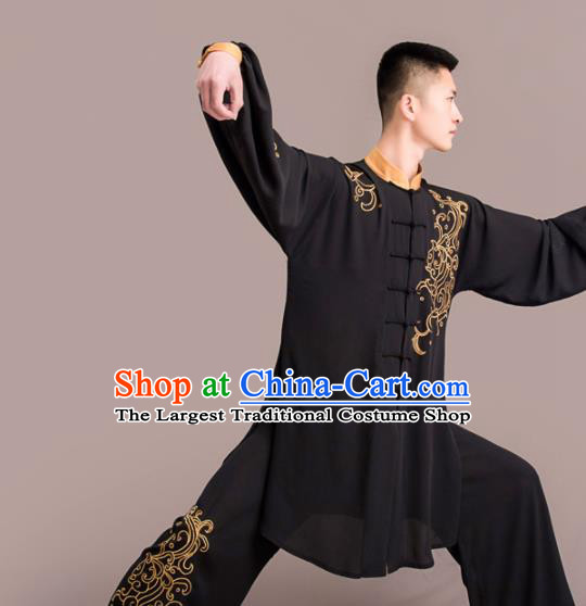 Chinese Traditional Kung Fu Competition Black Costume Martial Arts Embroidered Clothing for Men