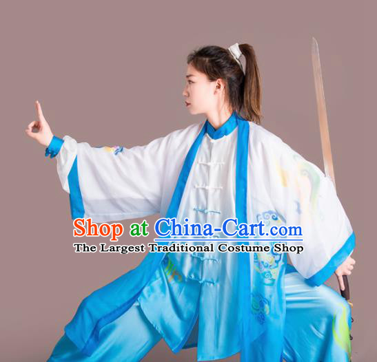 Chinese Traditional Kung Fu Competition Embroidered Clouds Blue Costume Martial Arts Tai Chi Clothing for Women