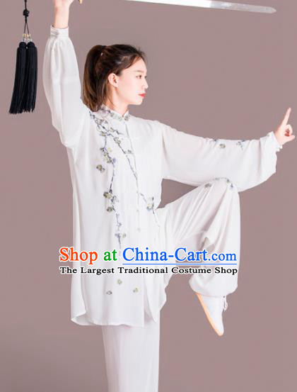 Chinese Traditional Kung Fu Competition Costume Martial Arts Tai Chi Embroidered Plum Blossom Clothing for Women