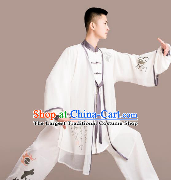 Chinese Traditional Kung Fu Competition White Costume Tai Chi Martial Arts Clothing for Men