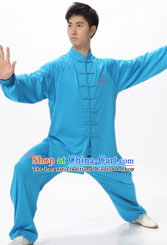 Chinese Traditional Kung Fu Competition Blue Costume Tai Chi Martial Arts Clothing for Men