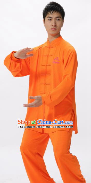 Chinese Traditional Kung Fu Competition Orange Costume Tai Chi Martial Arts Clothing for Men