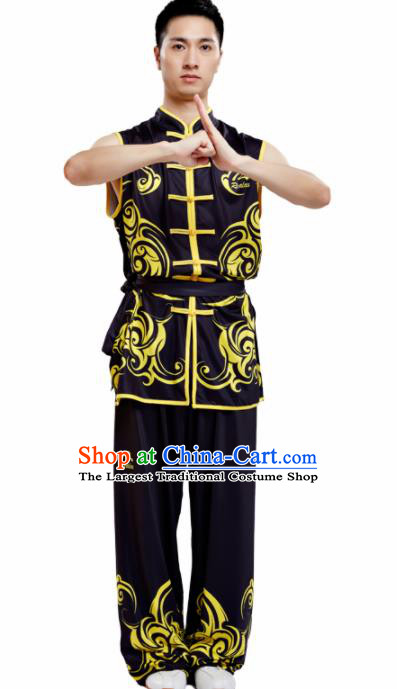 Chinese Traditional Kung Fu Competition Black Costume Tai Chi Martial Arts Clothing for Men