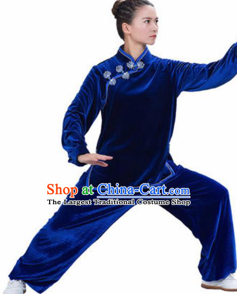 Chinese Traditional Kung Fu Competition Costume Martial Arts Tai Chi Royalblue Velvet Clothing for Women