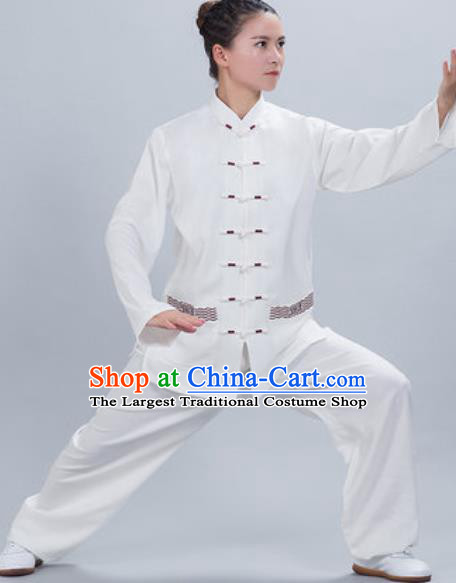 Chinese Traditional Kung Fu Competition Costume Tang Suit Tai Chi White Clothing for Women