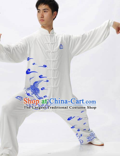Chinese Traditional Kung Fu Competition Printing Crane White Costume Tai Chi Martial Arts Clothing for Men