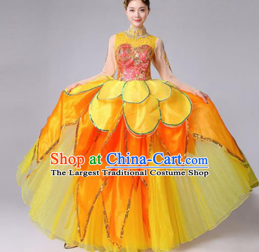 Chinese Traditional Spring Festival Gala Dance Costume Peony Dance Stage Performance Yellow Dress for Women