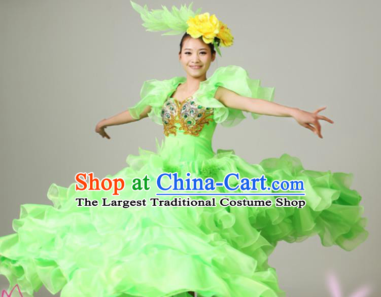 Chinese Traditional Opening Dance Green Bubble Dress Spring Festival Gala Stage Performance Costume for Women