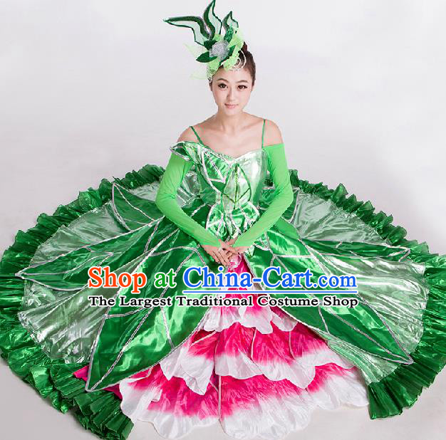 Top Grade Chorus Opening Dance Peony Dance Green Dress Modern Dance Stage Performance Costume for Women