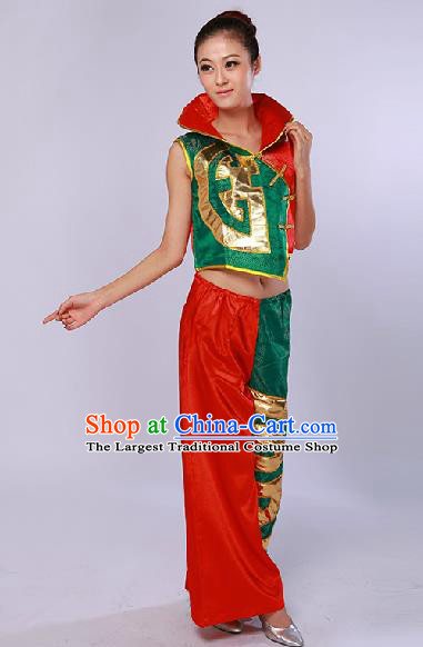 Chinese Traditional Drum Dance Red Clothing Folk Dance Stage Performance Clothing for Women