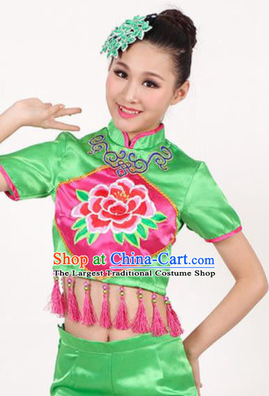 Chinese Traditional Folk Dance Costume Drum Dance Yangko Stage Performance Green Clothing for Women
