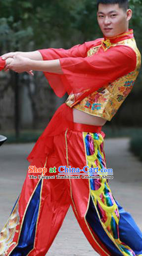 Chinese Traditional Folk Dance Costume Drum Dance Yangko Stage Performance Red Clothing for Men