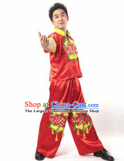 Chinese Traditional Folk Dance Costume Yangko Dance Stage Performance Red Clothing for Men