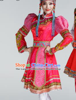 Chinese Traditional Ethnic Dance Costume Mongolian Dance Stage Performance Rosy Dress for Women