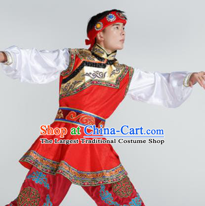 Chinese Traditional Ethnic Dance Costume Mongolian Dance Stage Performance Red Clothing for Men