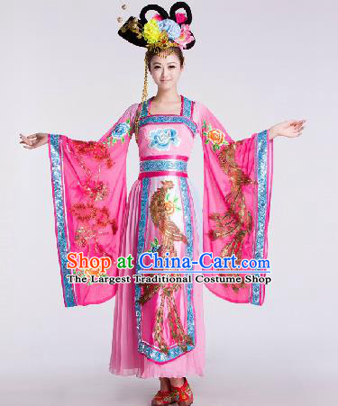 Chinese Traditional Beijing Opera Costume Classical Dance Stage Performance Pink Dress for Women
