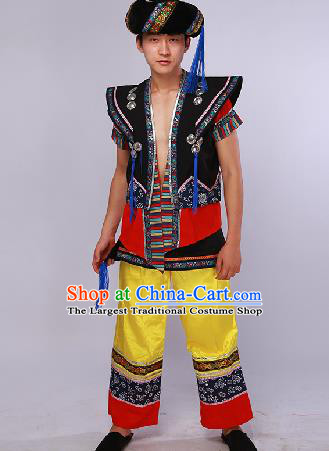 Chinese Traditional Ethnic Dance Costume Yi Nationality Stage Performance Clothing for Men