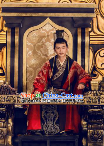 Chinese Ancient Drama Queen Dugu Sui Dynasty First Emperor Yang Jian Historical Costume and Headpiece for Men