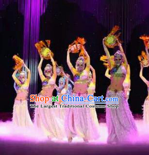 Chinese Traditional Classical Dance Pink Clothing Lotus Dance Stage Performance Costume for Women