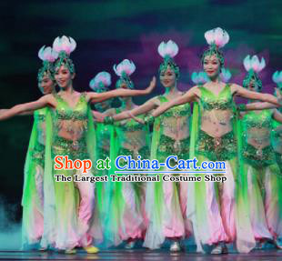 Chinese Traditional Classical Dance Green Clothing Lotus Dance Stage Performance Costume for Women